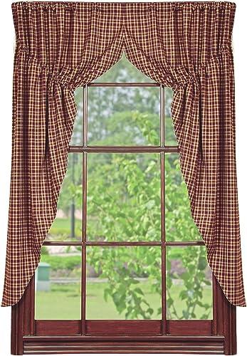 IHF Home Decor Prairie Window Curtain Vintage Star Wine Design 100-Percent Cotton Fabric 72