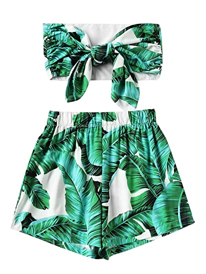 abafdb9694 Amazon.com: SheIn Women's Sexy Bow Tie Crop Bandeau Top With Shorts  Tropical Print Outfits: Clothing