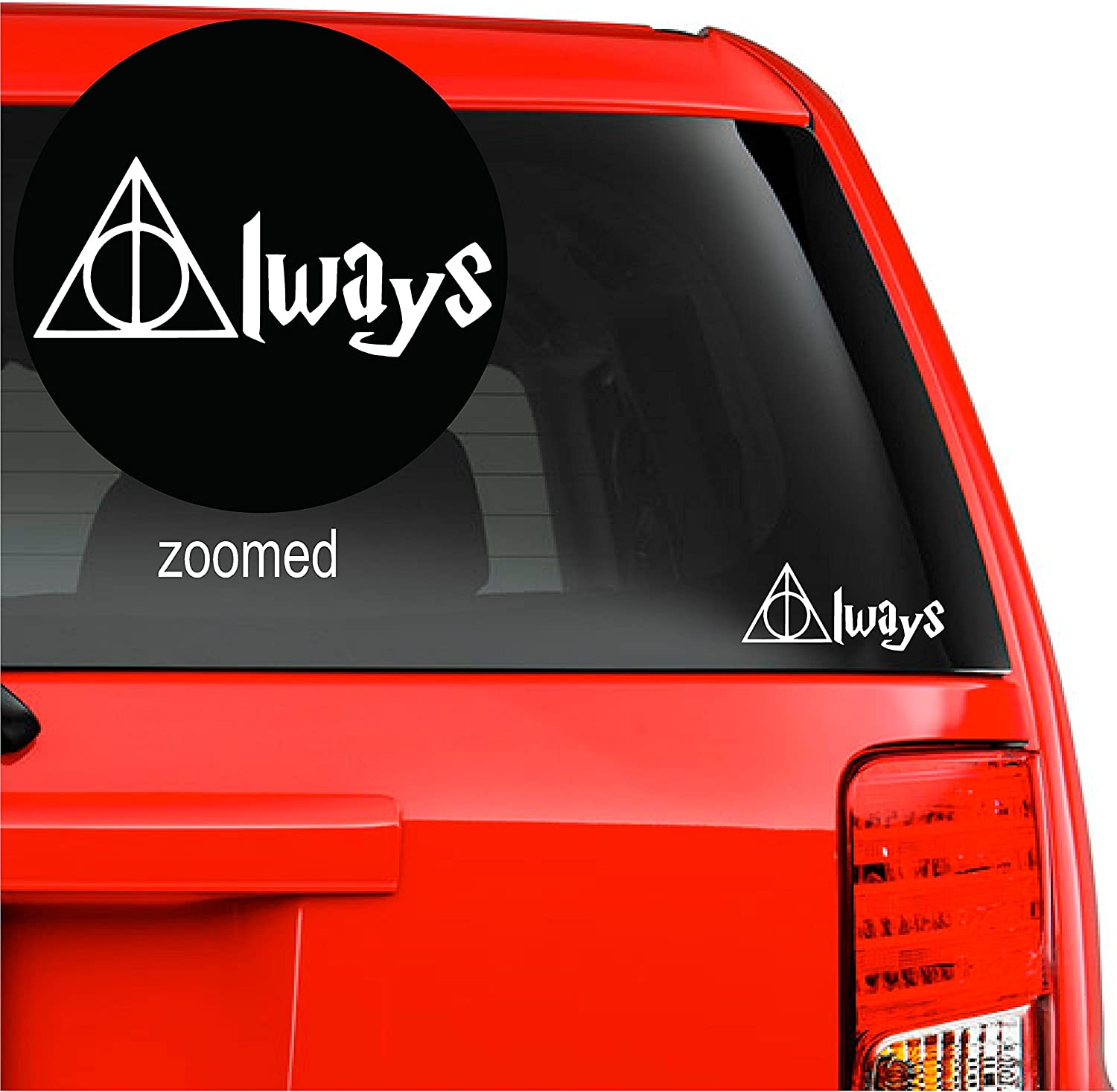 """Harry Potter Always Deathly Hallows Vinyl Decal Sticker for car Laptop Room Wall (5.5"""" inches, White)"""