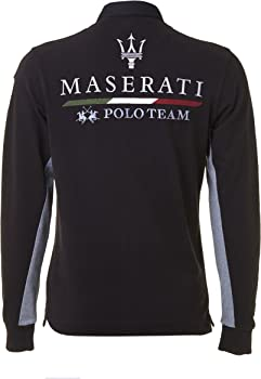 Maserati Polo Manga Larga Negro/Gris Medium: Amazon.es: Ropa y ...