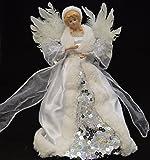 Premier - Oggetto ornamentale per la casa, decorazione natalizia, puntale per albero di Natale a forma di angelo, colore: bianco/argento, misura: 30 cm