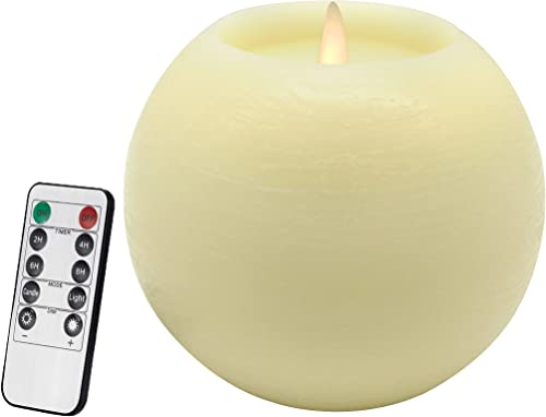 CVHOMEDECO. Moon Sphere Wax LED Dancing Flame Candle Ball Battery Operated Wax LED Flameless Candle with Timer and Remote Control, Dia. 6 X H 5 Inch, Cream