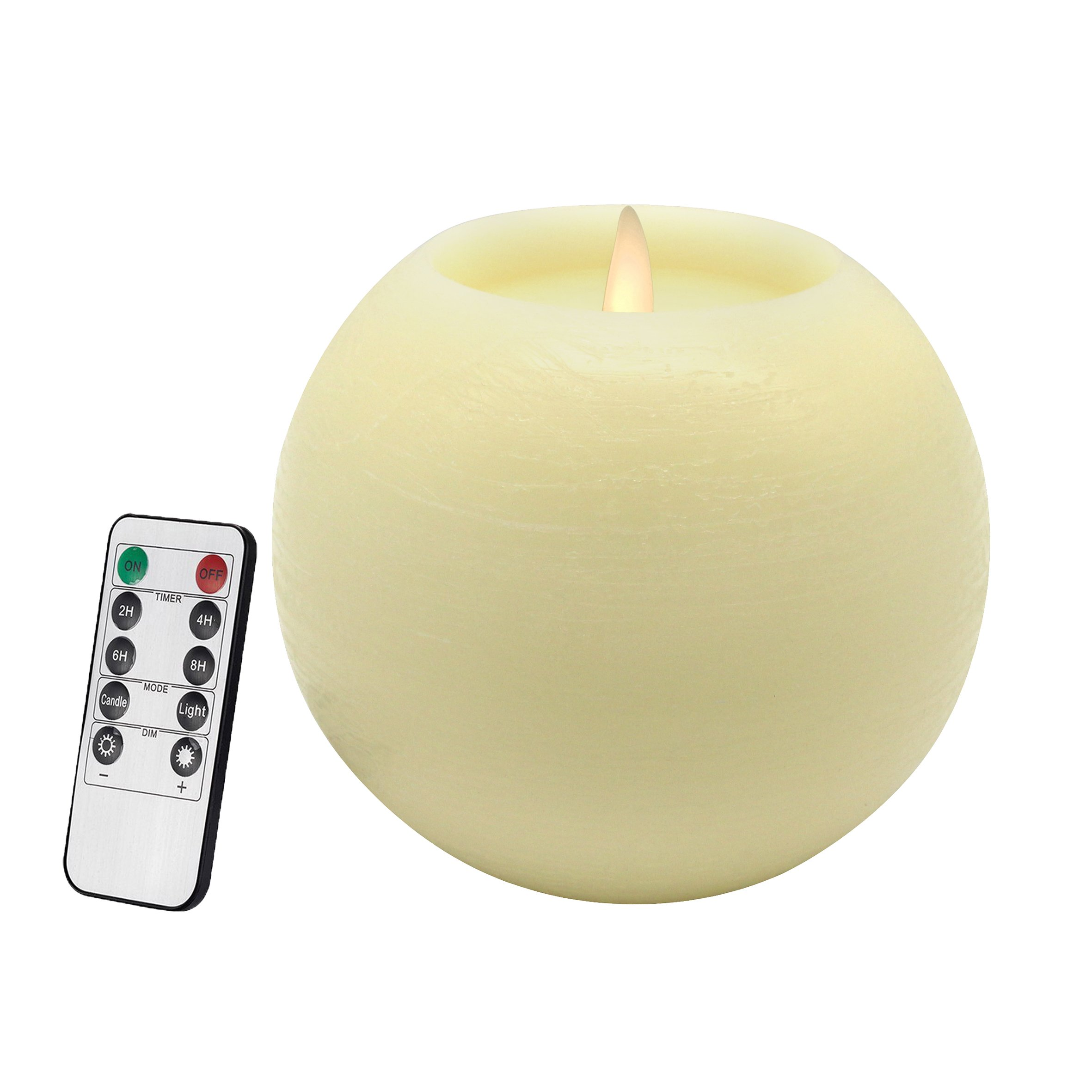 CVHOMEDECO. Moon Sphere Wax LED Dancing Flame Candle Ball Battery Operated Wax LED Flameless Candle with Timer and Remote Control, 6'' Dia. X 5'' H, Cream