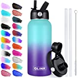 Glink Stainless Steel Water Bottle with Straw, 32-40 oz Wide Mouth Double Wall Vacuum Insulated Water Bottle Leakproof…