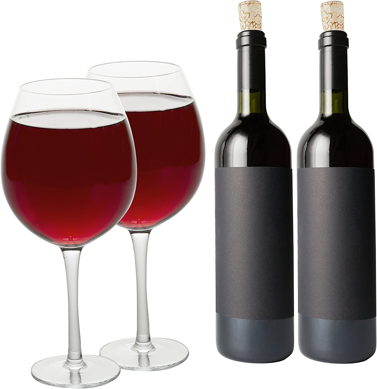 Amazon Com Oversized Xl Giant Wine Glass 33 5 Oz Holds A Full Bottle Of Wine 2 Glasses Fun Gift Wine Glasses