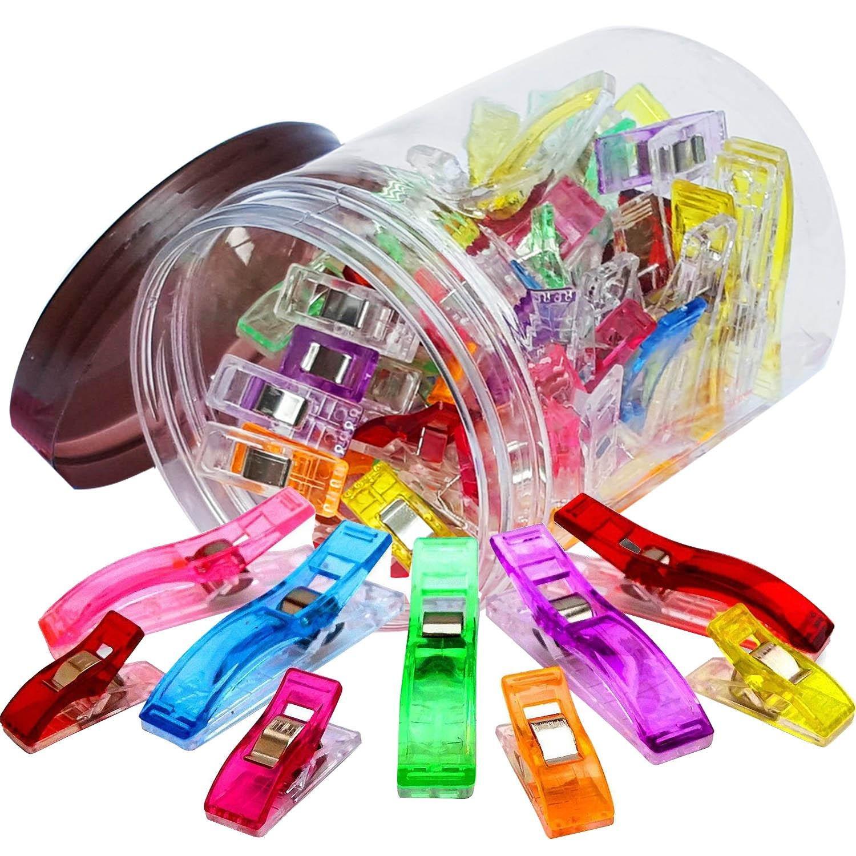 100 pz 2 Dimensioni Plastica Multiuso per Cucire Quilting Crafting Clip Craft Clip Strumenti Accessori Colore con Vaso di Stoccaggio Miscelati Gosear