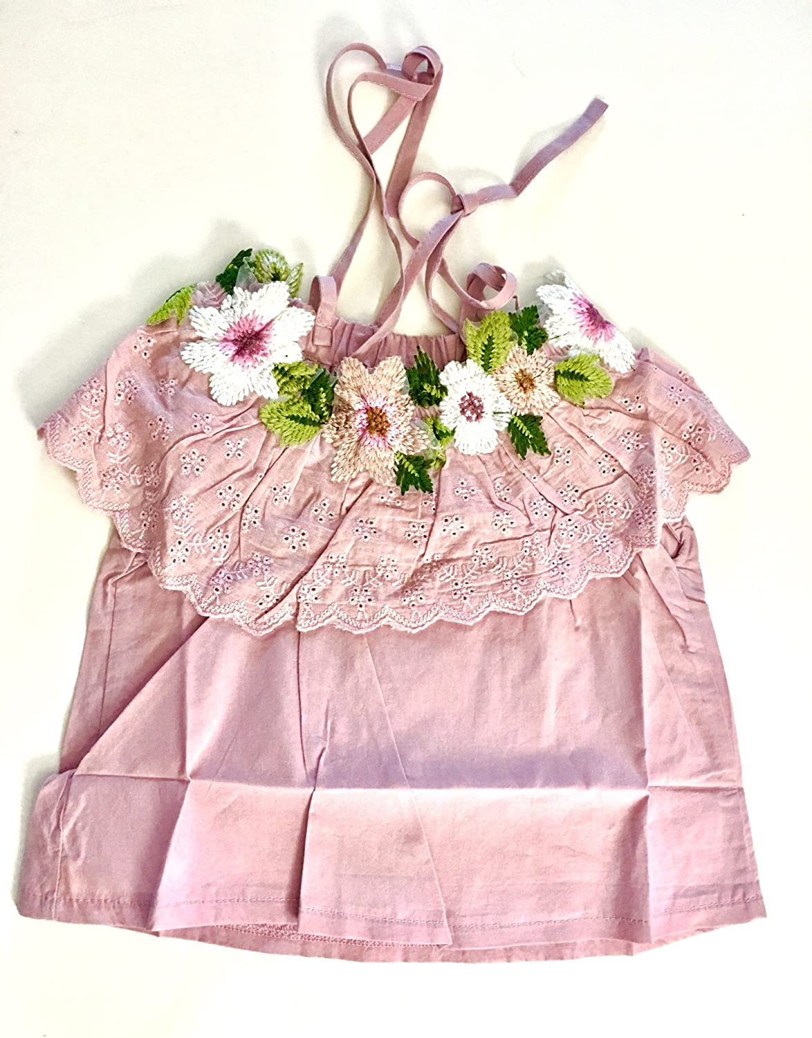 Pink Baby Toddler Girl Floral Embroidered Ruffle top Baby Cotton Floral Embroidered top 12 Months
