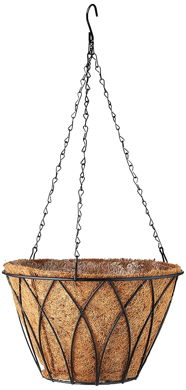 Austram 25120533 12-Inch Black Lotus Hanging Planter with Chain