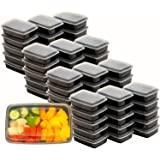 16 Pack - SimpleHouseware 1 Compartment Reusable Stackable Meal Prep Containers Dishwasher, Freezer, Microwave Food Safe, 28 Ounces 黑色 50 Value Pack - $0.69/Count