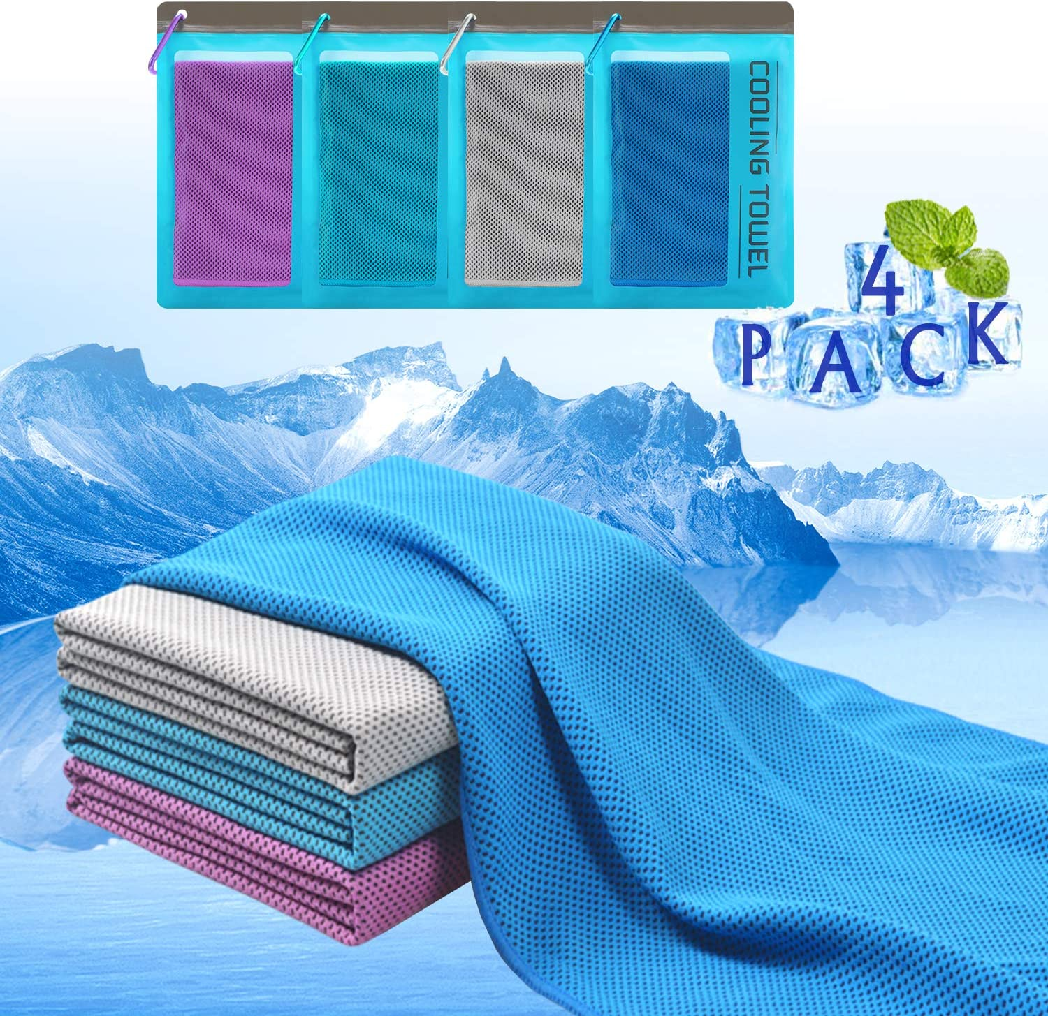 "Plazenzon Cooling Towels for Neck Wrap[4 Pack], Cool Towel Towel for Workout Sports Gym Athlete Hot Weather, Ice Cold Snap Towel for Men Women and Dogs[47""x12""]"