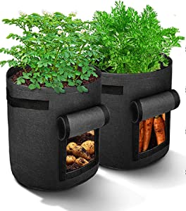 SabaShop Potato Grow Bags -7 Gallon 2 Pack Fabric Smart Garden Pots w/Flap and Handles, Breathable Thickened Nonwoven Vegetable Planters (Black)