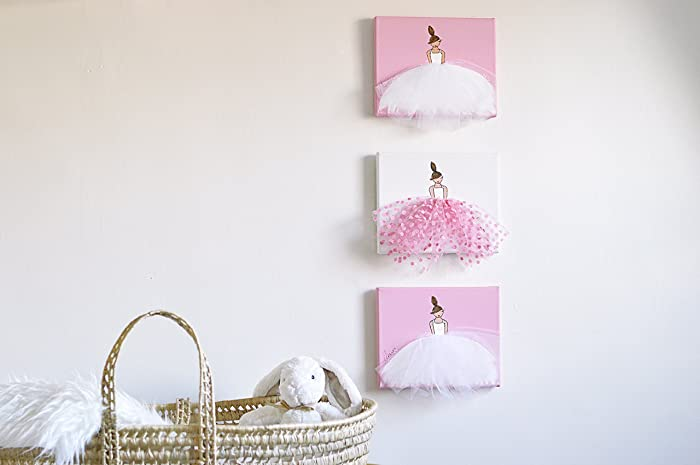 Amazon.com: Baby Nursery Decor Home Canvas Wall Art Ballerina with ...
