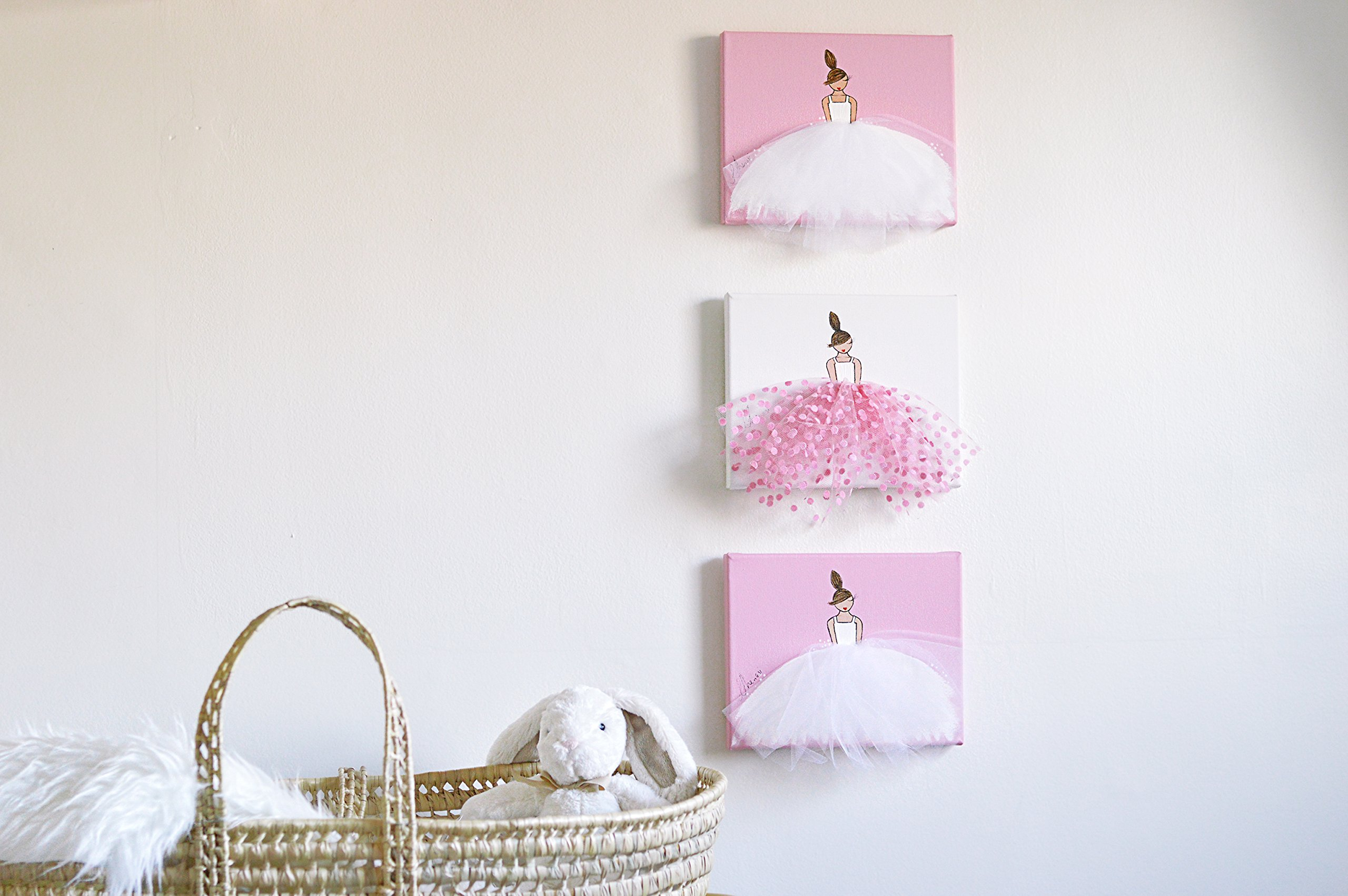 Baby Nursery Decor Home Canvas Wall Art Ballerina with Pink Tutu for Little Girls and Infants
