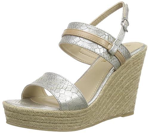 35906c9d21db s.Oliver Women s 28329 Open Toe Sandals Silver Size  7  Amazon.co.uk ...
