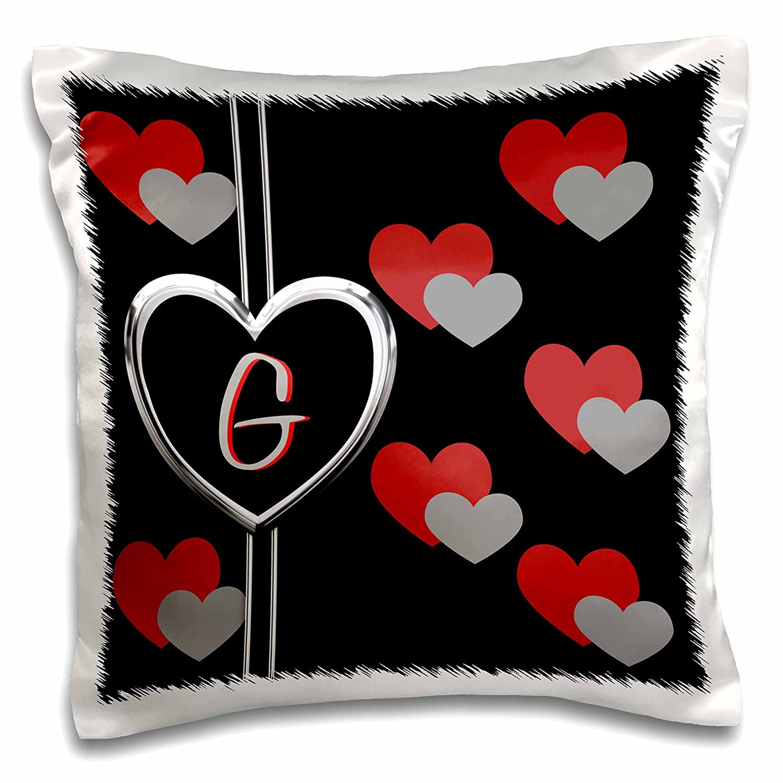 3dRose pc/_215202/_1 Modern Geometric Black Red Grey Hearts Pattern Monogram Letter K Pillow Case 16 x 16