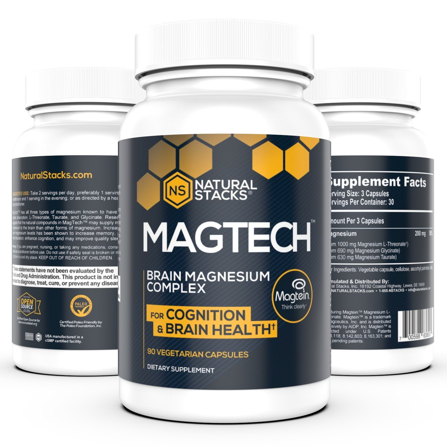 Natural Stacks' MagTech Magnesium Complex (90 Capsules) - Promote Brain Health, Improve Cognitive Aging, Help with Sleep Support - Vitamin and Dietary Supplement