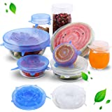 ZEXCEL Silicone Stretch Lids Pack of 12, Blue and Transparent-Washable and Reusable bowl covers Fits to various sizes of Food