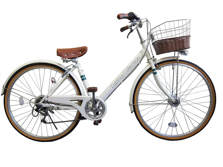 Lupinusルピナス 自転車 26インチ LP-266VA シティサイクル Vフレーム 籐風カゴ オートライト B01K4I2XCAホワイト