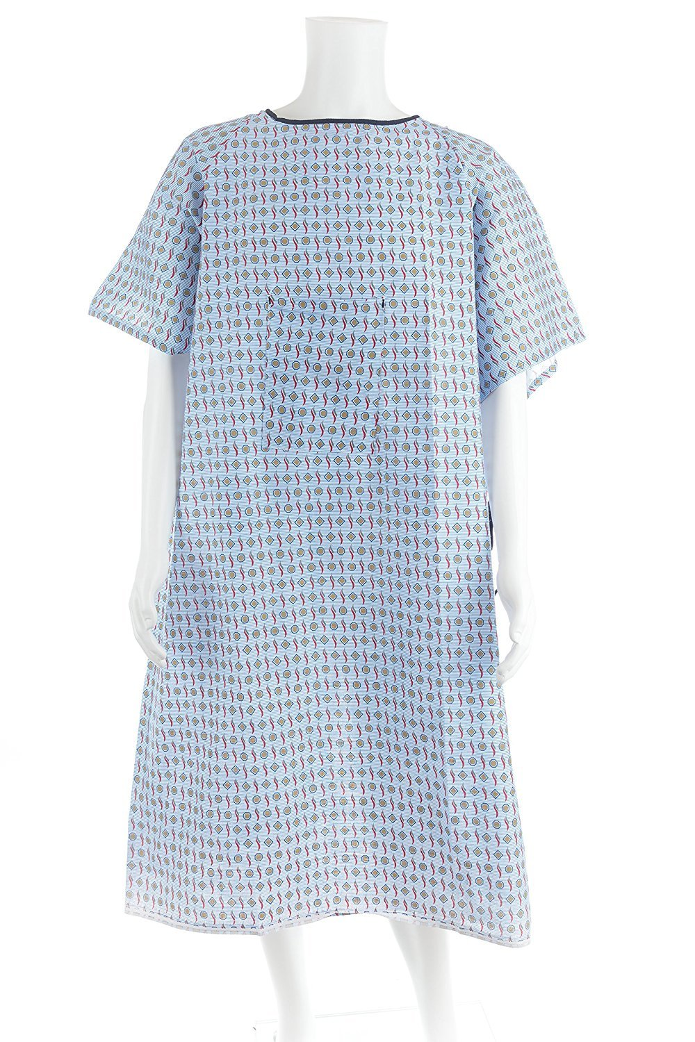 Personal Touch Top of The Line Patient Gowns, Back Tie (2-Pack) Demure Print, Comfortable Polyester and Cotton Blend is Easy-Care, and Fits All Sizes Up To 2XL,