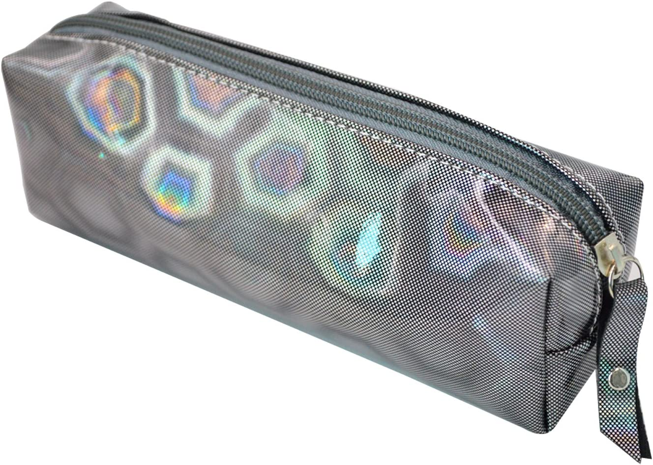 AiSi - Estuche para lapiceros o cosméticos con cierre de cremallera - Diseño láser, color gris: Amazon.es: Oficina y papelería