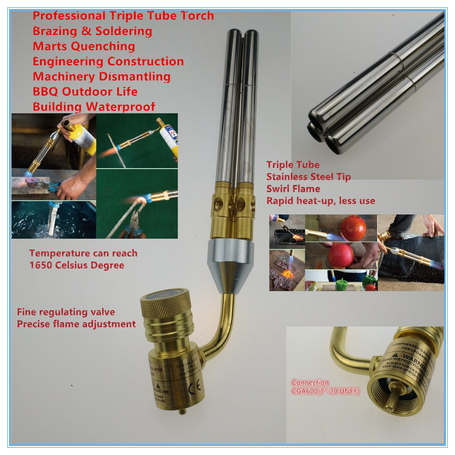 Mapp Gas Welding Torch Brazing Gun Supper 3 Pipes Propane Gas Welding Plumbing Jewelry CGA600 Connection Burner Heater Blowtorch