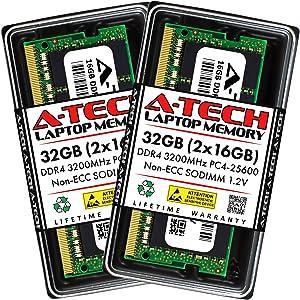 A-Tech 32GB (2x16GB) DDR4 3200MHz SODIMM PC4-25600 Non-ECC Unbuffered CL22 1.2V 260-Pin SO-DIMM Laptop Notebook Computer RAM Memory Upgrade Kit