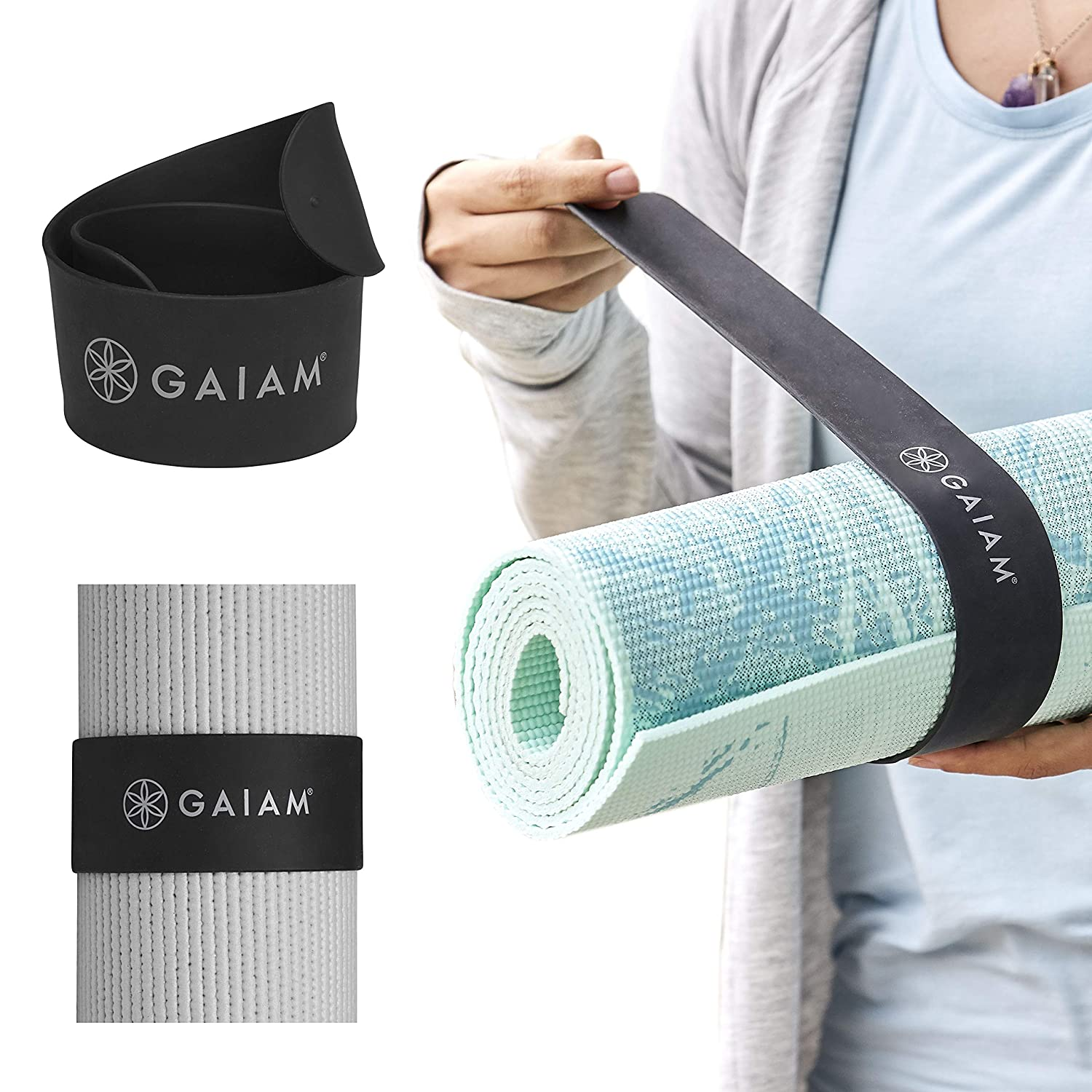 Gaiam Yoga Mat Strap Slap Band - Keeps Your Mat Tightly Rolled and Secure, Fits Most Size Mats (20