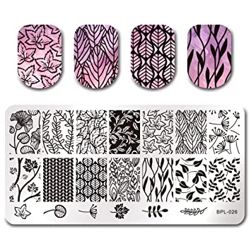 amazon com born pretty nail art stamping template leaves image
