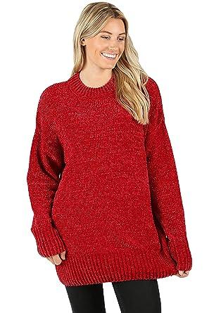 447966b5ba Vialumi Women s Solid Round Neck Long Sleeve Chenille Sweater Burgundy  Medium