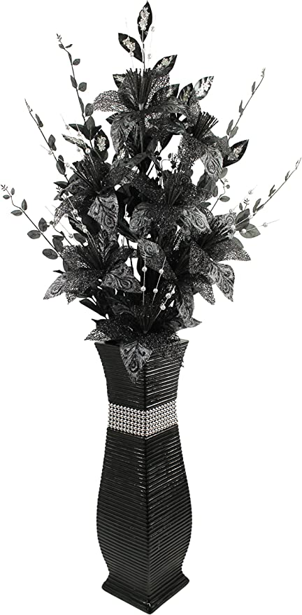 Large Black Floor Vase With Black Sparkle Artificial Flowers Bling 1 3m Tall Amazon Co Uk Kitchen Home
