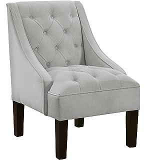 Superbe Skyline Furniture Tufted Swoop Arm Chair In Velvet Light Grey