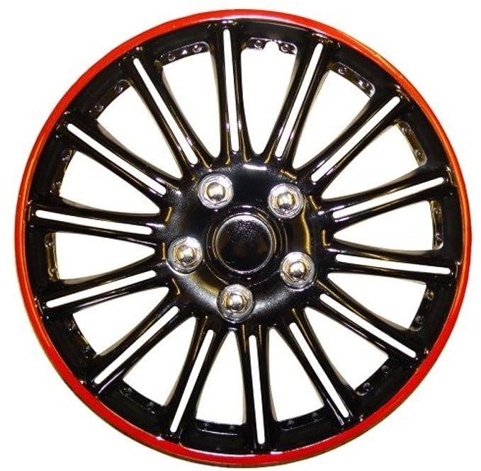 XtremeAuto - Tapacubos (4 unidades) completo, con bridas, tapa de válvulas y llavero, color negro: Amazon.es: Coche y moto