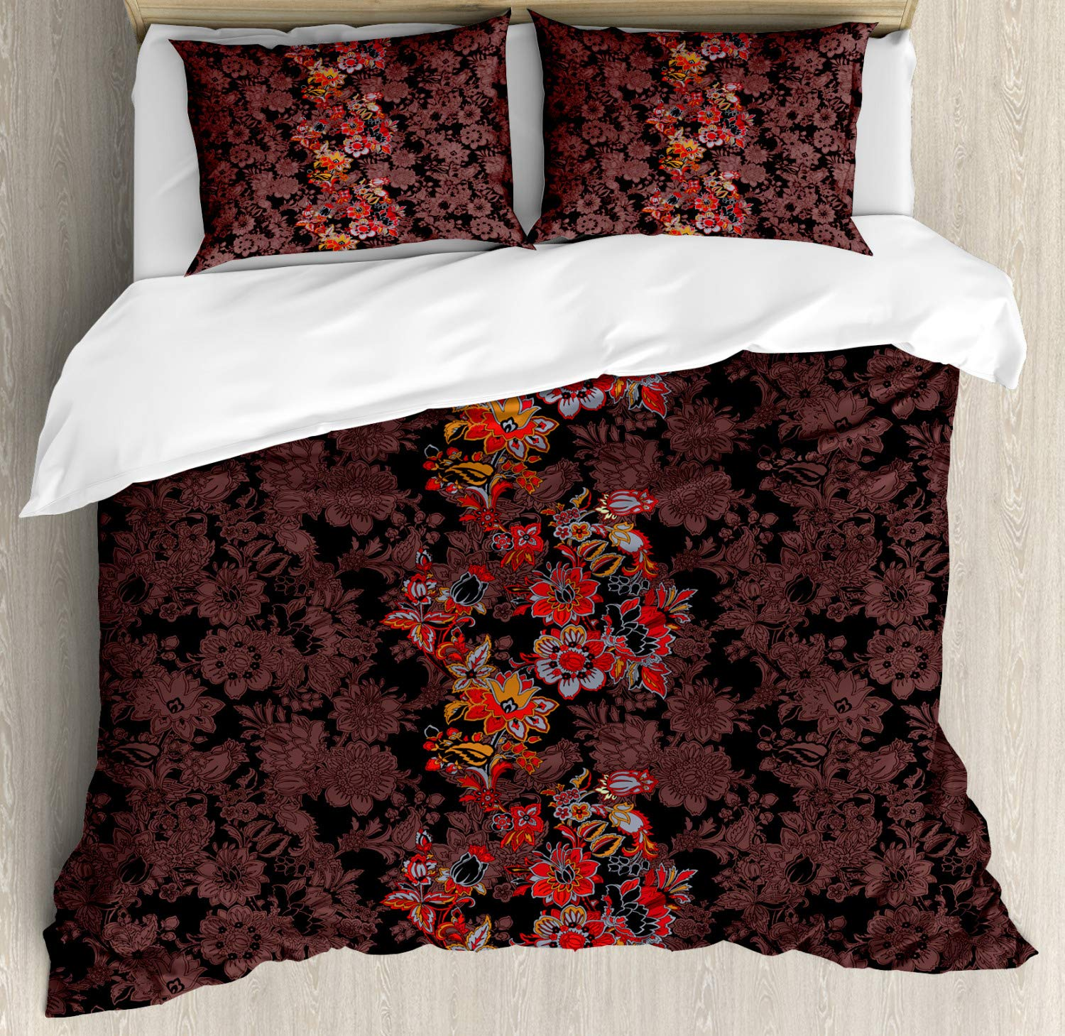 Flowers of Asia in Japanese Art Style Vivid Floral Pattern Boho Print Black Orange Mustard nev/_25183/_queen Ambesonne Flower Duvet Cover Set Queen Size Decorative 3 Piece Bedding Set with 2 Pillow Shams