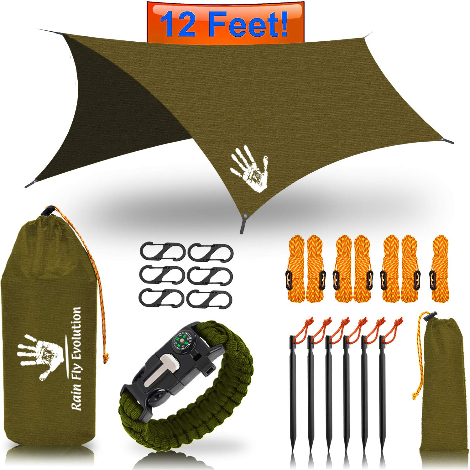 Best Choice Products Bug Net or Hammock RAIN Fly Tent TARP 12x10 / 10x10 ft & Survival Bracelet Gear - Waterproof Eno Rain Cover - Lightweight Diamond Ripstop Nylon Black 10x10 OD Green by Best Choice Products