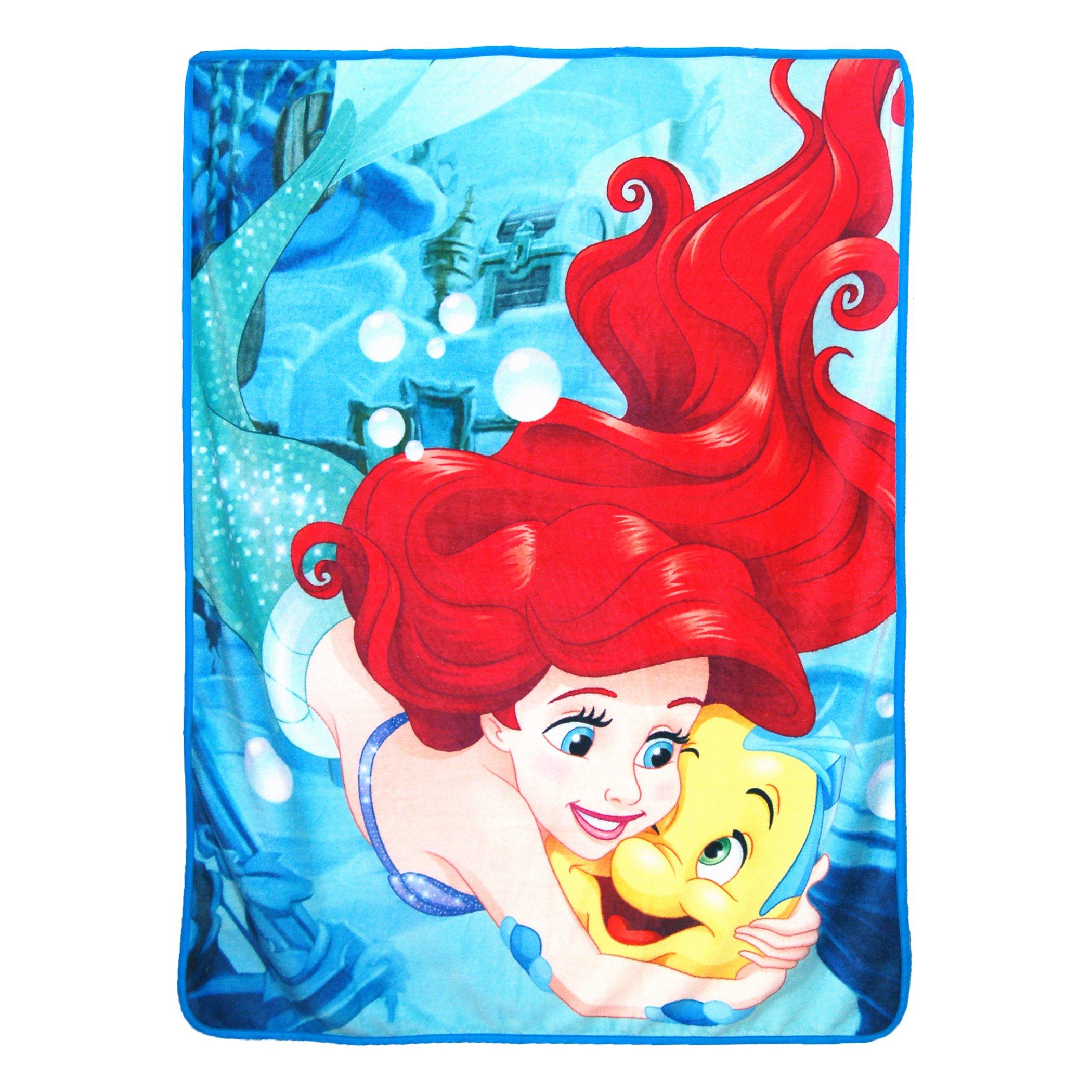 Disney's The Little Mermaid, ''Flounder Friend'' Micro Raschel Throw Blanket, 46'' x 60'', Multi Color