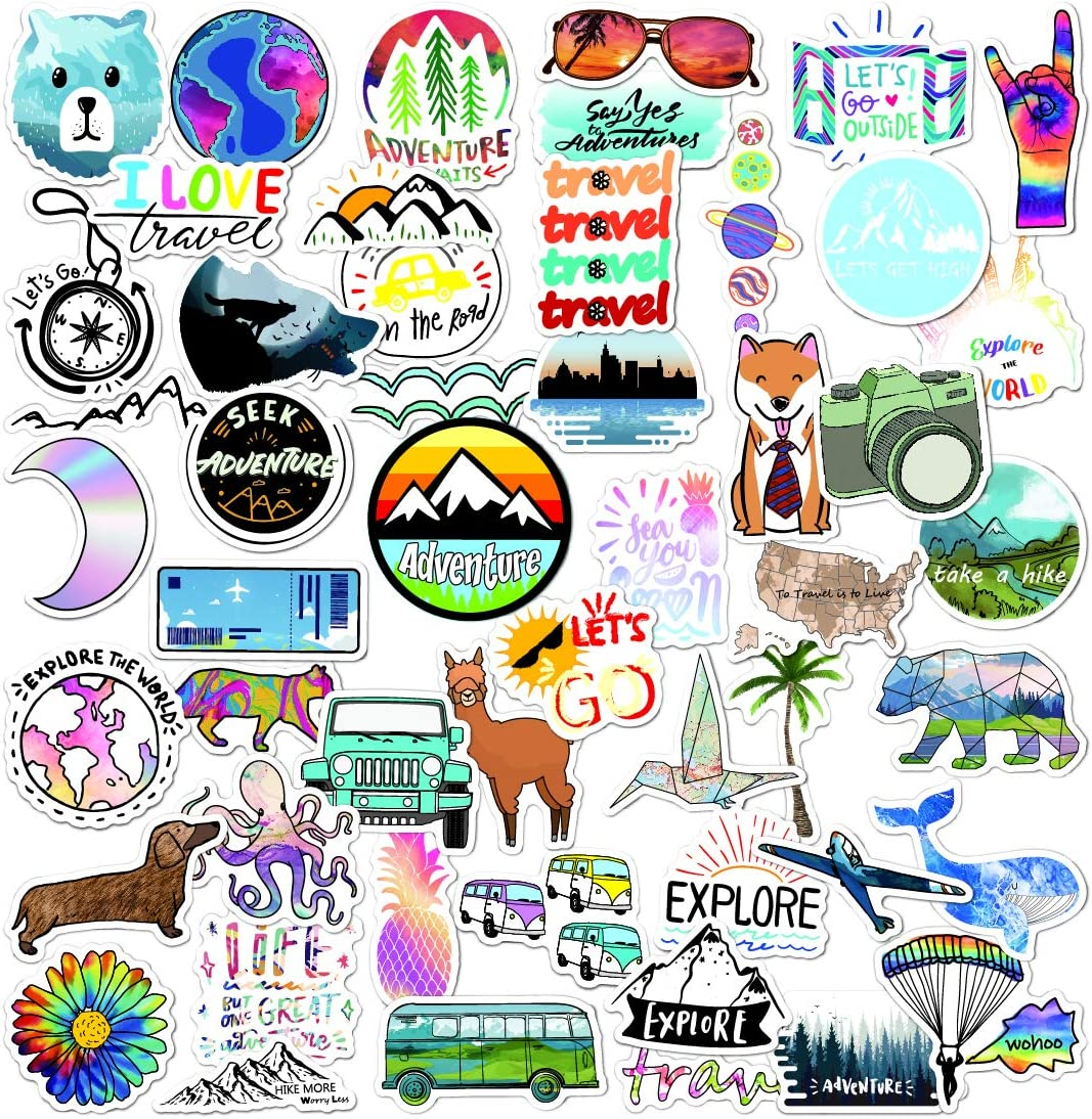 Adventure Stickers for Water Bottle Laptop Skateboard Bicycle Luggage Travel Pack Hiking Bumper Car, Vinyl Cool Stickers for Adults Teens Girls Woman Kids-(50pcs Outdoor Nature Stickers)