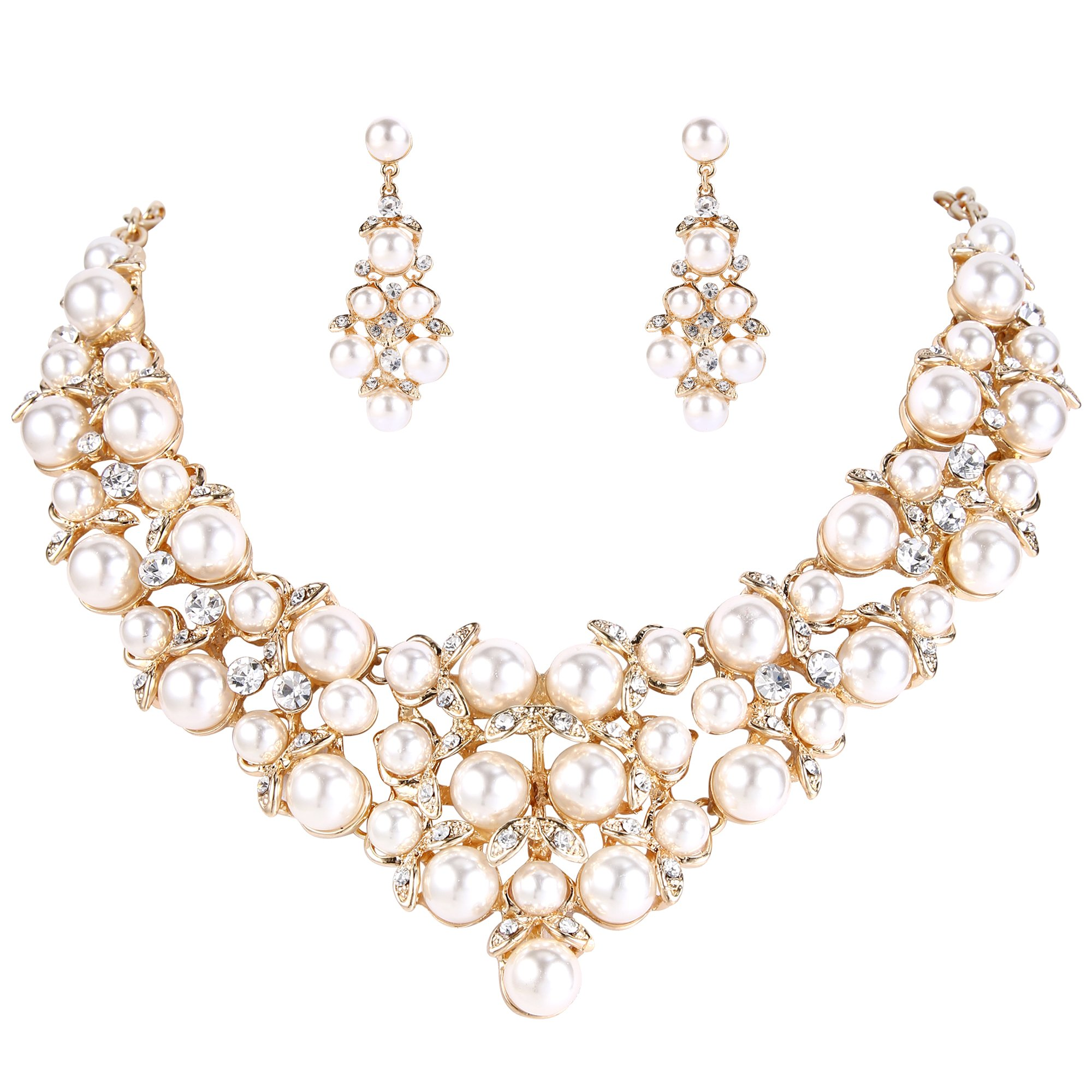 BriLove Women's Wedding Bridal Simulated Pearl Statement Necklace Dangle Earrings Jewelry Set with Crystal Cluster Clear Gold-Toned