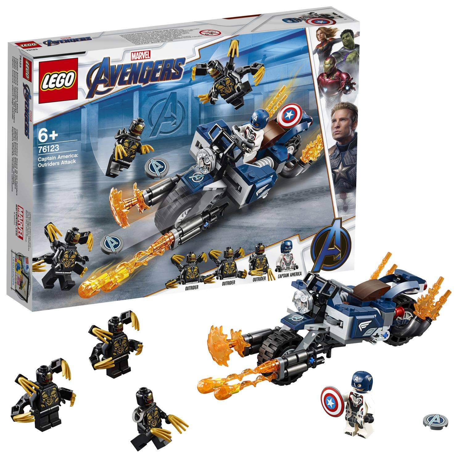 LEGO 76123 Marvel Avengers Endgame Outriders Attack Captain America's Motorcycle Toy, Super Heroes Playset