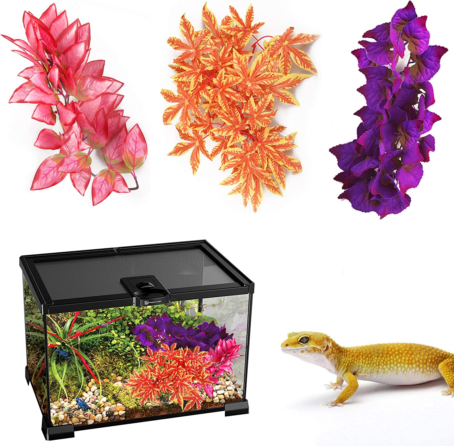 HOCTRAKA Reptile Plants, 3 Pack 12 inch Hanging Silk Terrarium Plants with Suction Cup for Bearded Dragons Lizards Gecko Snake Turtle Pets Tank Habitat Decorations for Reptile Terrariums Pet Supply