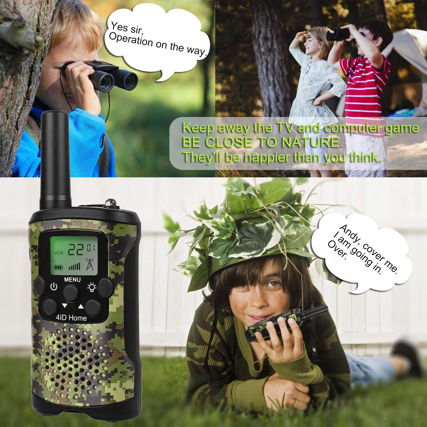 Walkie Talkie for Kids Binoculars for Kids Compass Outdoor Toys Kit Long Range Walkie Talkies Durable Toy Best Birthday Gifts for 6 year old Boys fit Outdoor Adventure Game Camping (Green Camo) by 4ID Home (Image #3)
