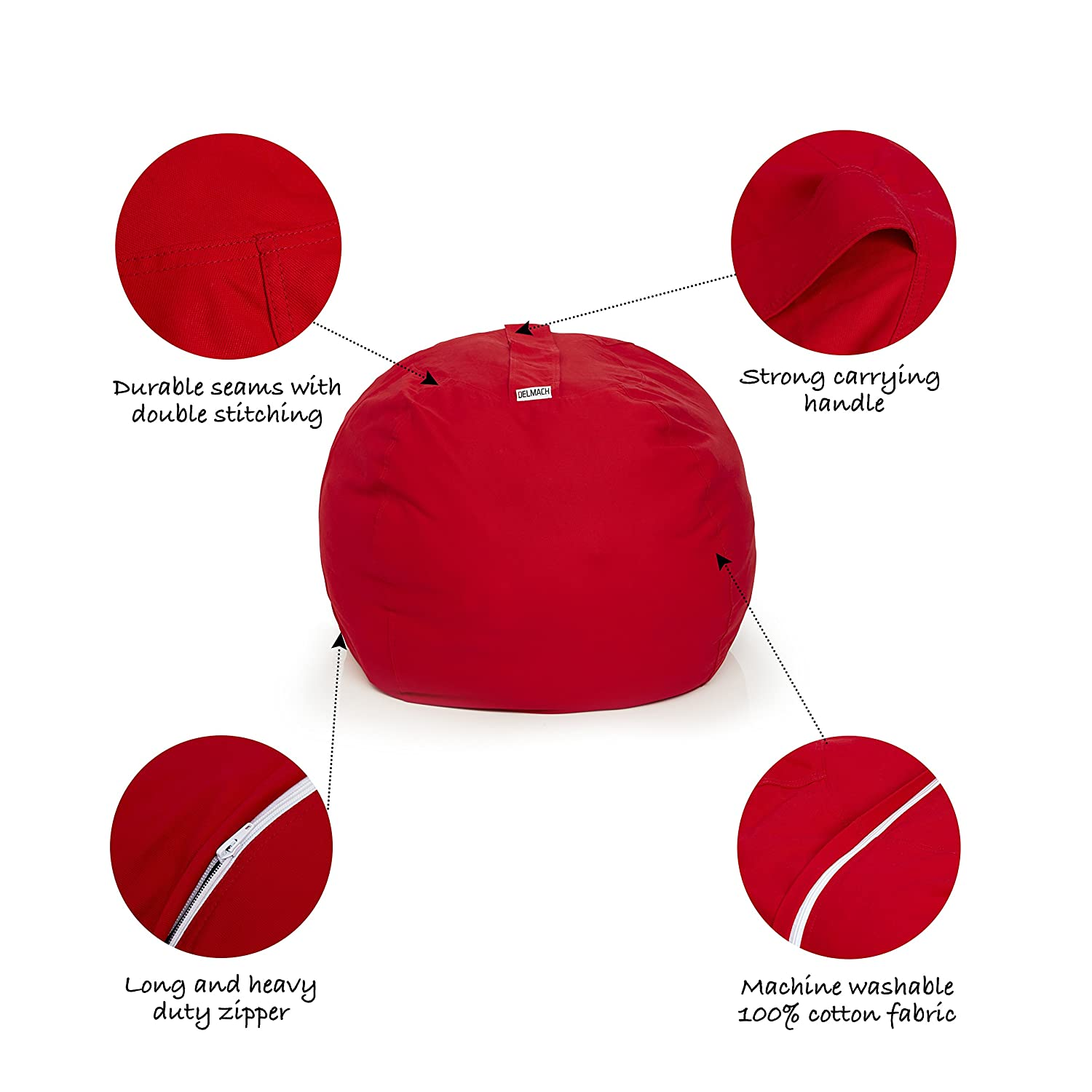 Extra Large 38 Room Organization 100/% Cotton Canvas Cool Kids Chair Toy Storage Bag Red Delmach Stuffed Animal Bean Bag | Storage Bean Bag Cover