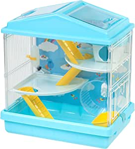 IRIS USA Hamster and Gerbil Pet Cage, 3-Tier, Blue