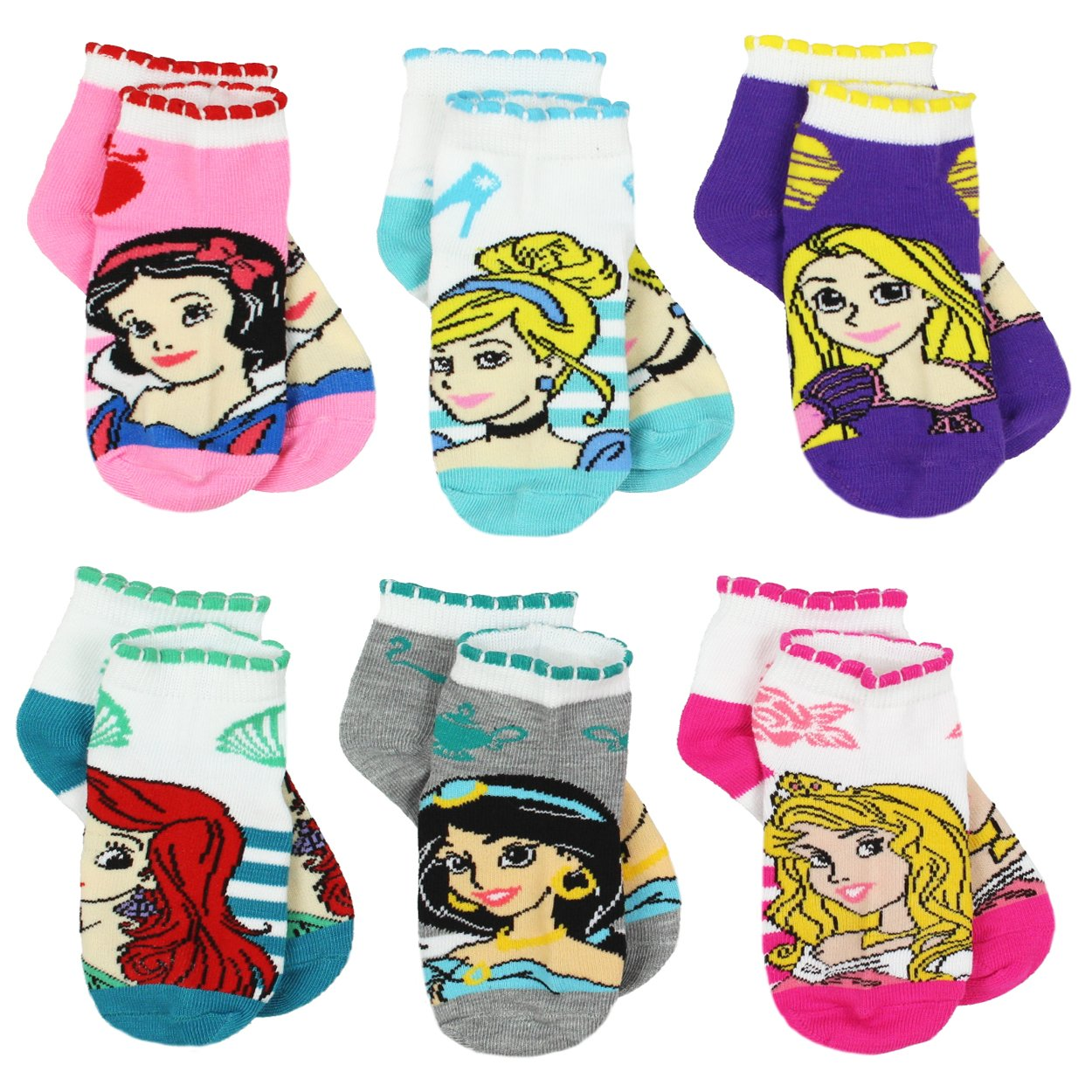 Disney Princess Girls Teen Womens 6 pack Socks (4-6 Toddler (Shoe: 7-10), Princess Stripes Quarter)