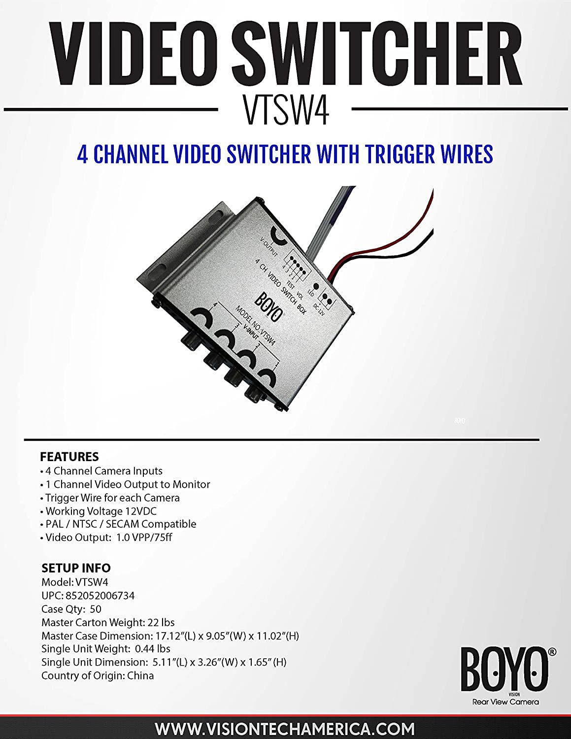 Amazon.com: Boyo VTSW4 4 Channel Camera Video Switcher with Trigger Wires:  Cell Phones & Accessories