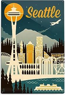 product image for Lantern Press Seattle, Washington, Retro Skyline (12x18 Aluminum Wall Sign, Wall Decor Ready to Hang)