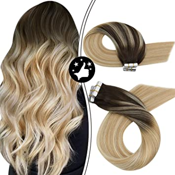 Amazon Com Moresoo Tape Hair Extensions 60g 40pcs 12 Inch Human Hair Extensions Tape In Skin Weft 2 Brown Fading To 27 Caramel Blonde Mixed 613 Bleach Blonde Tape In Hair Extensions Short Hair Beauty