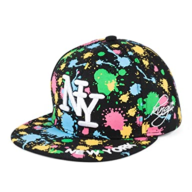 b99e41acc58 NY on Paint Splash Snapback Embroidered Hip hop Hat (black)  Amazon.co.uk   Clothing