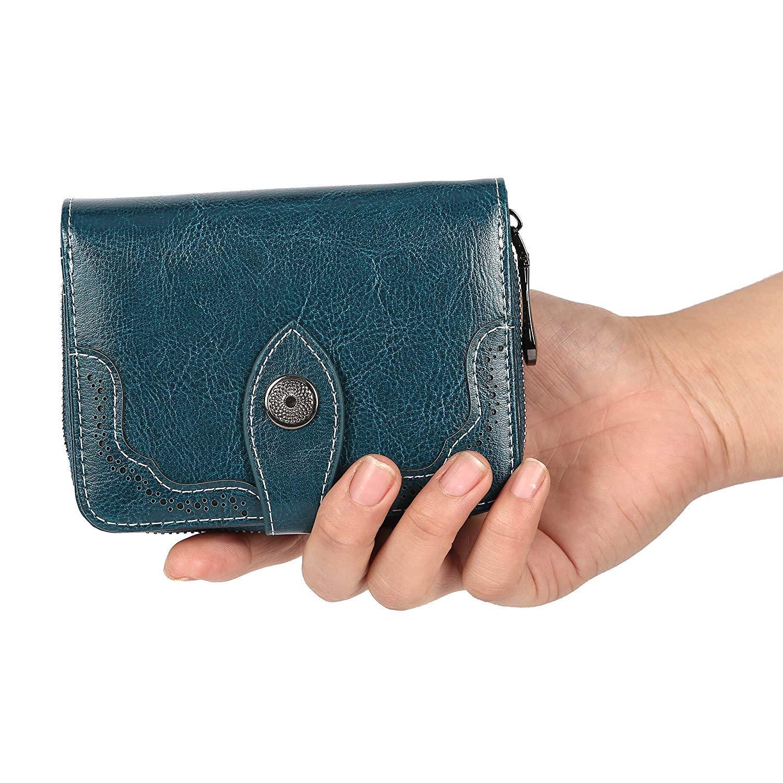 Cartera de Mano Mujer RFID Mini Plegable de Cuero Genuino Plegable Monederos de Gran Capacidad con Cremallera-Amarillo