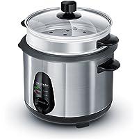 Arendo - Edelstahl Dampfgarer Reiskocher | inkl. Dampfgarfunktion | 1,0l Kapazität | Warmhaltefunktion | mit Innentopf und Deckel Messbecher Pfannenwender Dampfgaraufsatz