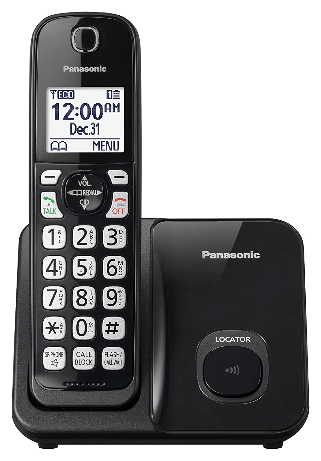 8b7d7e296 Amazon.com  Panasonic Expandable Cordless Phone System with Call Block and  High Contrast Displays and Keypads - 1 Cordless Handset - KX-TGD510B (Black)   ...